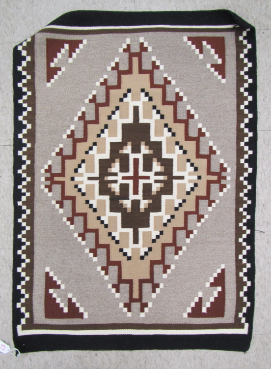 TWO GREY HILLS NAVAJO WEAVING having black, grey w