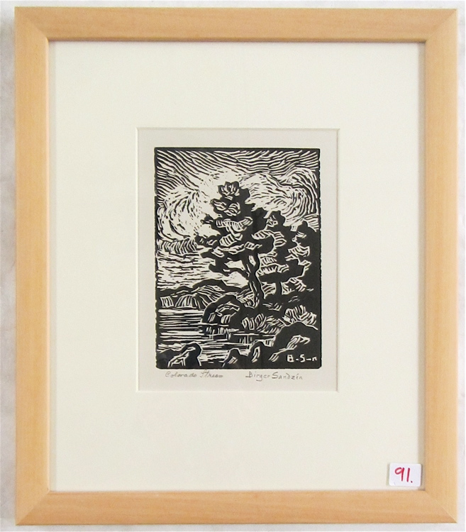 BIRGER SANDZEN LINOCUT (Kansas/Colorado/Sweden, 18