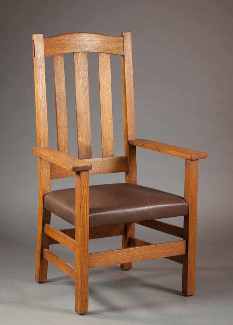 STICKLEY BROTHERS TALL BACK ARMCHAIR, model 935-1/