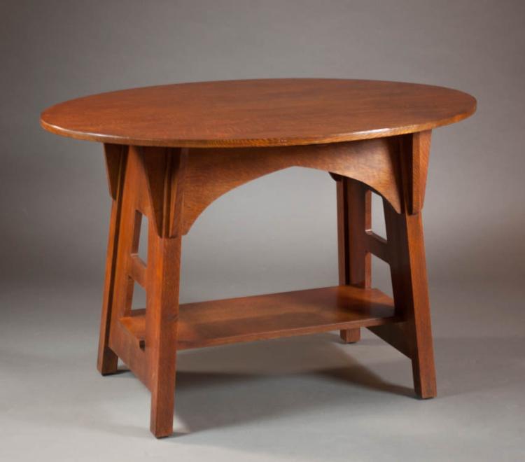 STICKLEY LIMBERT COMMEMORATIVE OAK LIBRARY TABLE,