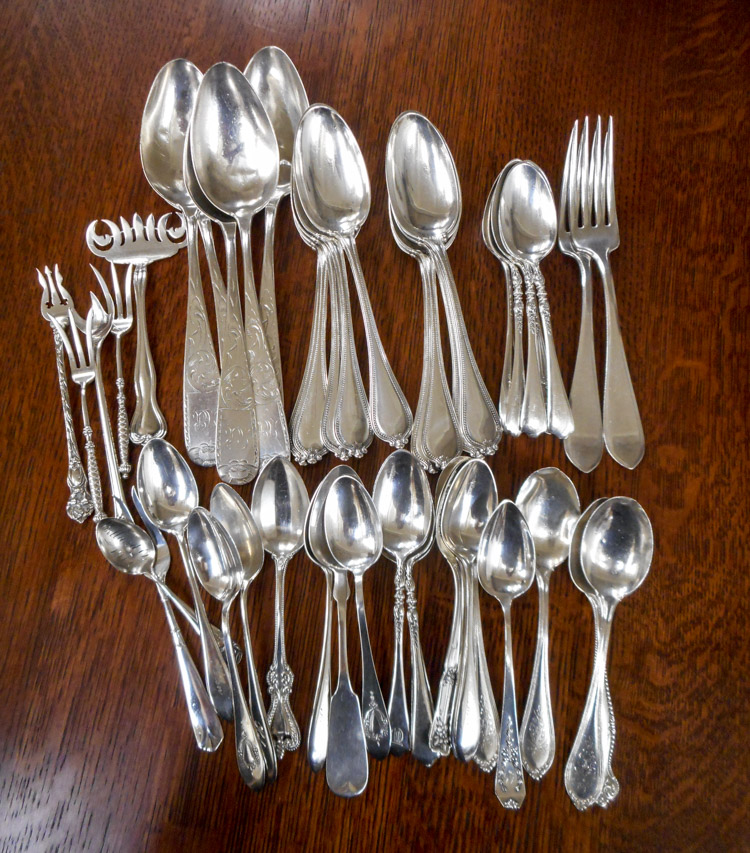 ASSORTED STERLING SILVER FLATWARE, fifty pieces in