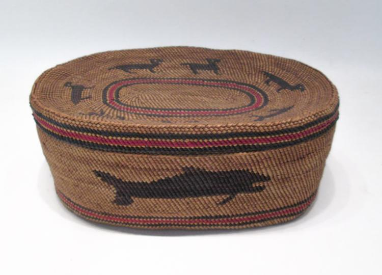 NORTHWEST NATIVE AMERICAN (MAKAH) LIDDED BASKET, o