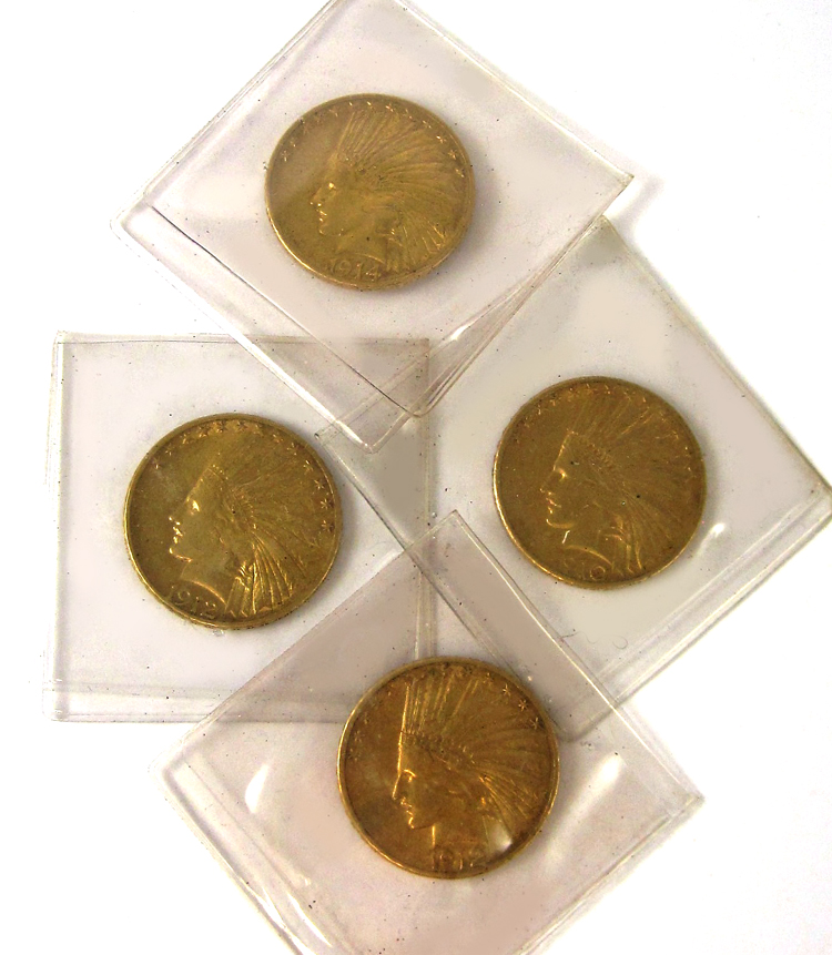 FOUR U.S. GOLD COINS, all $10 Liberty head type, 1