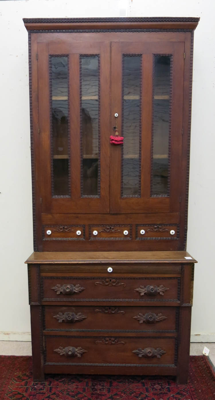VICTORIAN WALNUT BOOKCASE ON CHEST, American, mid-