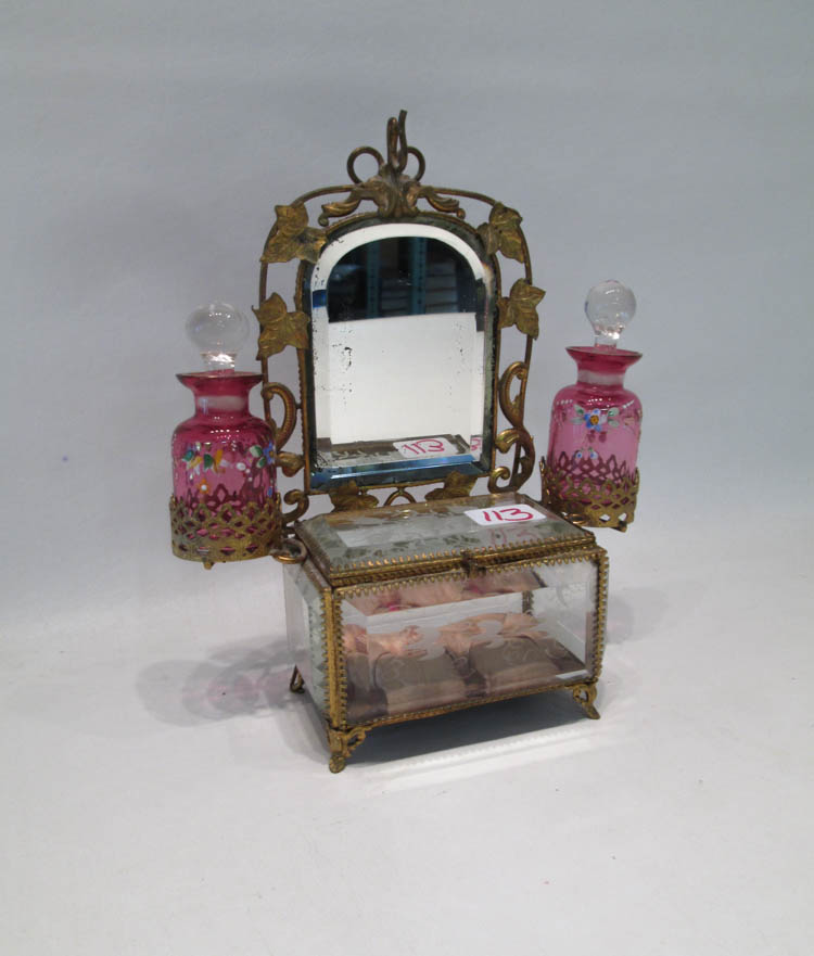 FRENCH VICTORIAN PERFUME CADDY JEWELRY BOX, the ce