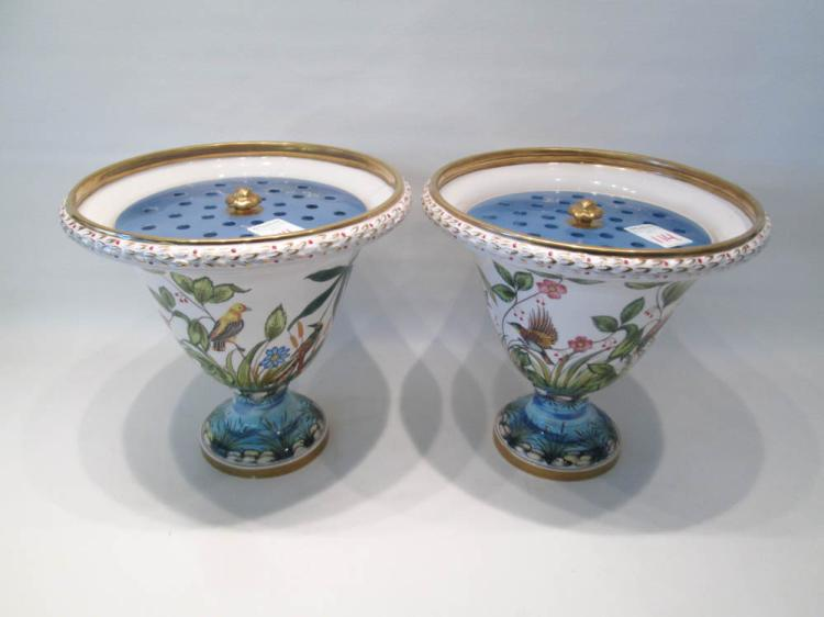 PAIR OF ITALIAN POTTERY VASES WITH FLOWER FROG LID