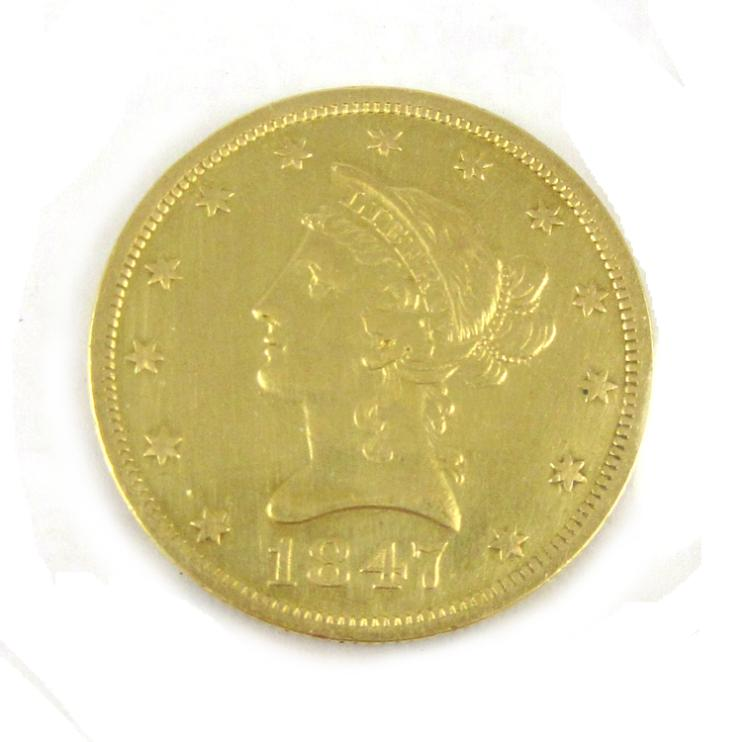 U.S GOLD COIN, $10 Liberty head, variety 1 without