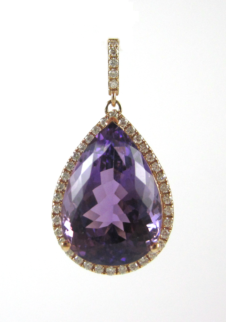 AMETHYST, DIAMOND AND ROSE GOLD PENDANT.  The 14k