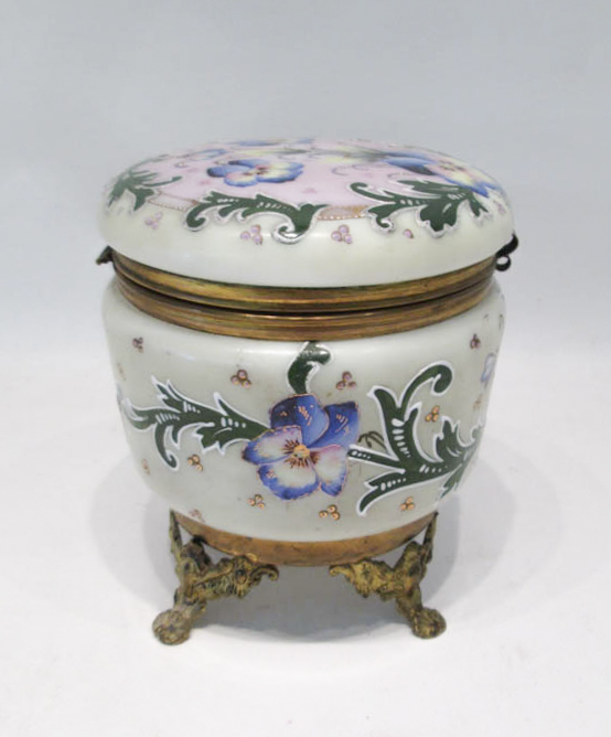 VICTORIAN ENAMELED GLASS VANITY BOX, the hinge-top