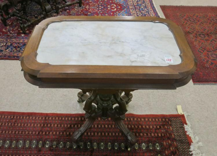 A VICTORIAN MARBLE-TOP LAMP TABLE, Renaissance Rev