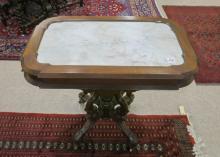 A VICTORIAN MARBLE-TOP LAMP TABLE, Renaissance Rev
