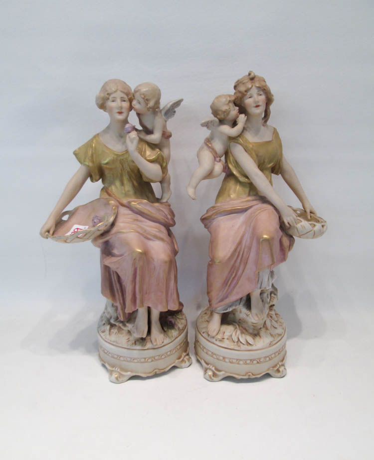 PAIR ROYAL DUX FIGURES.  Each a young barefoot wom
