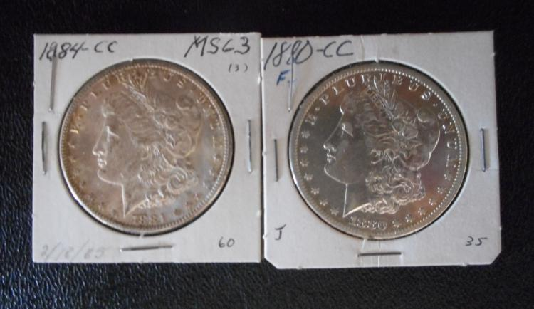 TWO CARSON CITY SILVER MORGAN DOLLARS:  1880-CC an
