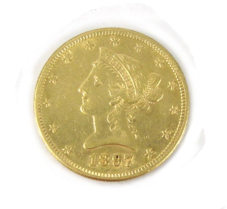 U.S. GOLD COIN, $10 Liberty head, type 2 with mott