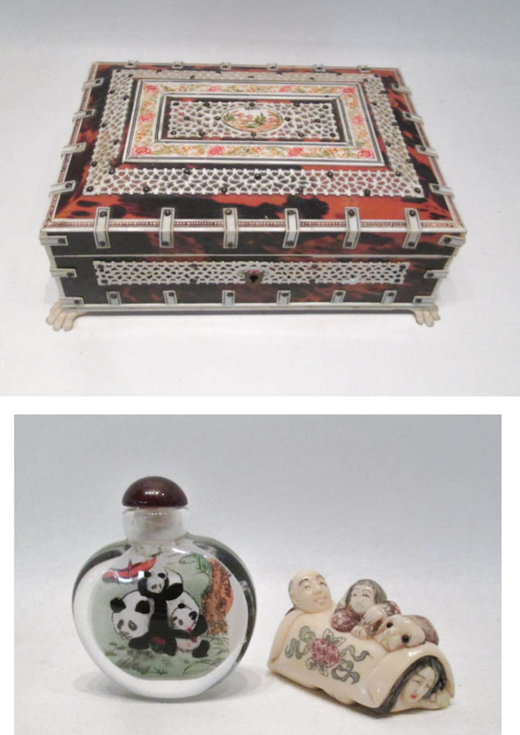 KEEPSAKE BOX, SNUFF BOTTLE AND EROTIC NETSUKE, the