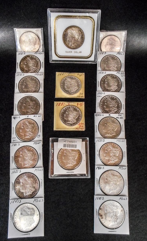 TWENTY U.S. SILVER MORGAN DOLLARS:  1881-P, 1881-S