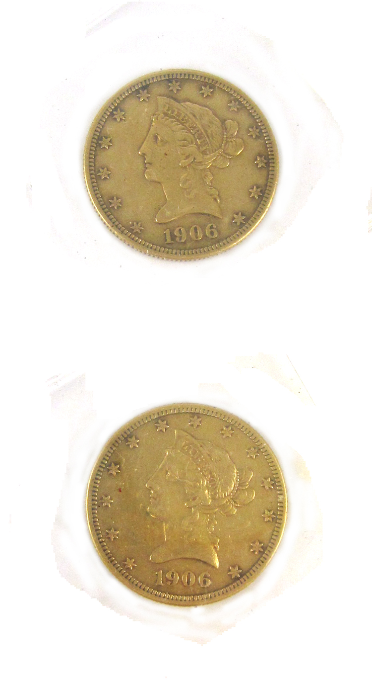 TWO U.S. GOLD COINS, $10 Liberty head, type 2 with