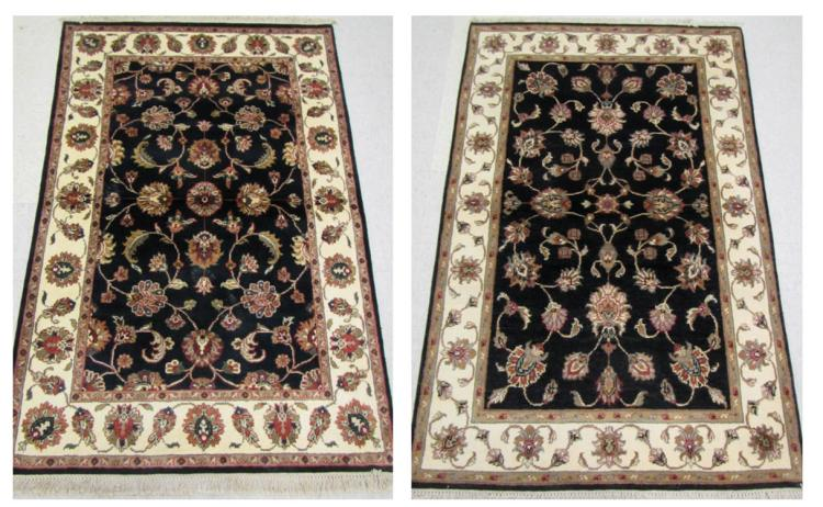 TWO VERY SIMILAR HAND KNOTTED ORIENTAL AREA RUGS,