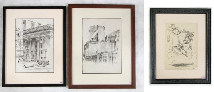 PAUL KELLER, THREE INK DRAWINGS AND A PENCIL SKETC