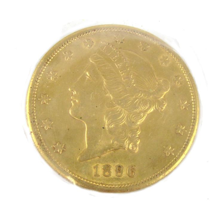 TWO U.S. GOLD COINS, $20 Liberty head, type 3, 189