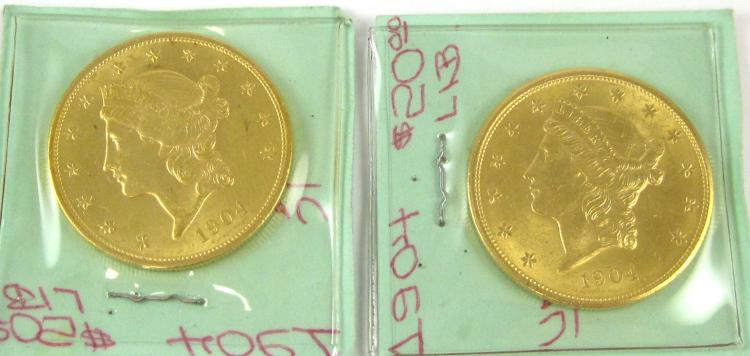 TWO U.S. GOLD COINS, $20 Liberty, type 3, 1904-P (