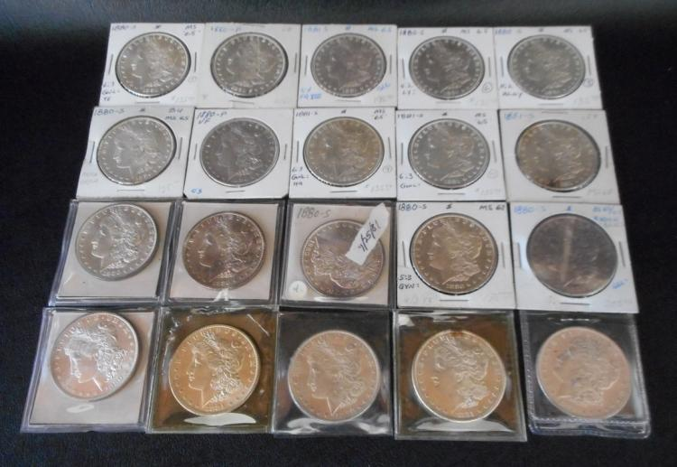 TWENTY U.S. SILVER MORGAN DOLLARS:  1880-P (3), 18