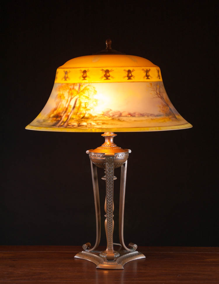 PAIRPOINT REVERSE PAINTED TABLE LAMP, with Exeter