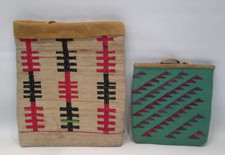 TWO NATIVE AMERICAN (PLATEAU) BAGS, the first a co