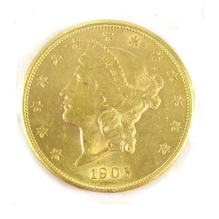 TWO U.S. GOLD COINS, $20 Liberty, type 3, 1904-P a