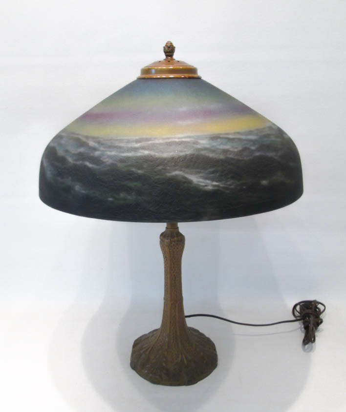 REVERSE PAINTED TABLE LAMP, the glass shade painte