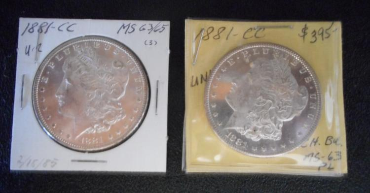TWO CARSON CITY SILVER MORGAN DOLLARS: 1881-CC (2