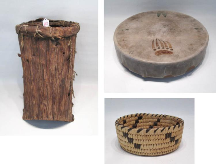 THREE NATIVE AMERICAN ITEMS: plateau cedar bark b