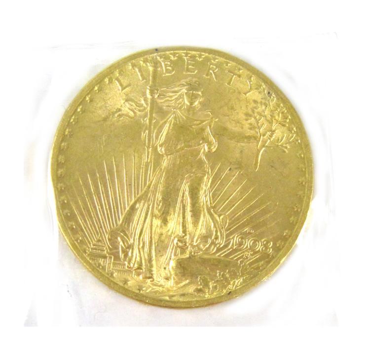 U.S. GOLD COIN, $20 St.  Gaudens type, 1908-D.
