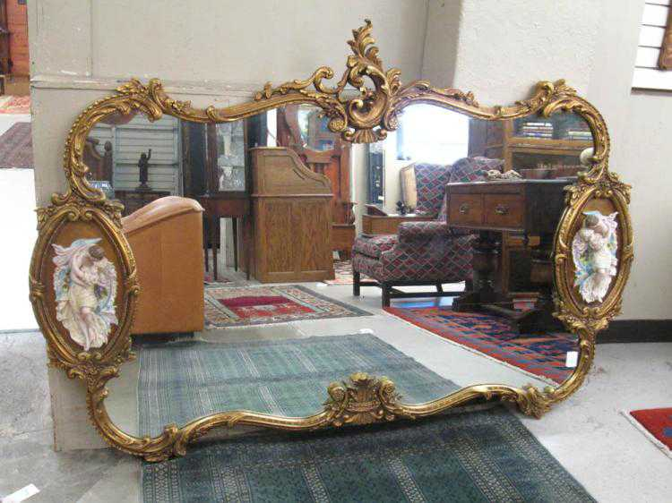LARGE LOUIS XV STYLE WALL MIRROR, American, 20th c