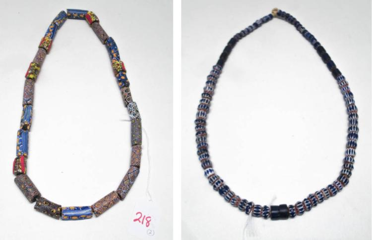 TWO STRANDS OF NATIVE AMERICAN TRADE BEADS the fir