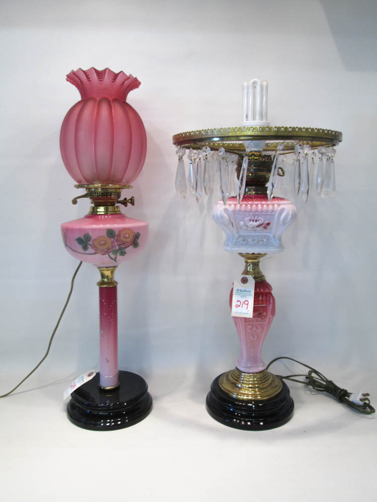 TWO ELECTRIFIED VICTORIAN GLASS TABLE LAMPS, the f