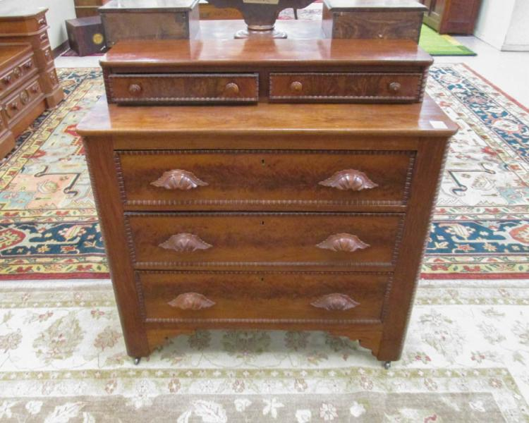 VICTORIAN WALNUT CHEST, American, c. 1875, having