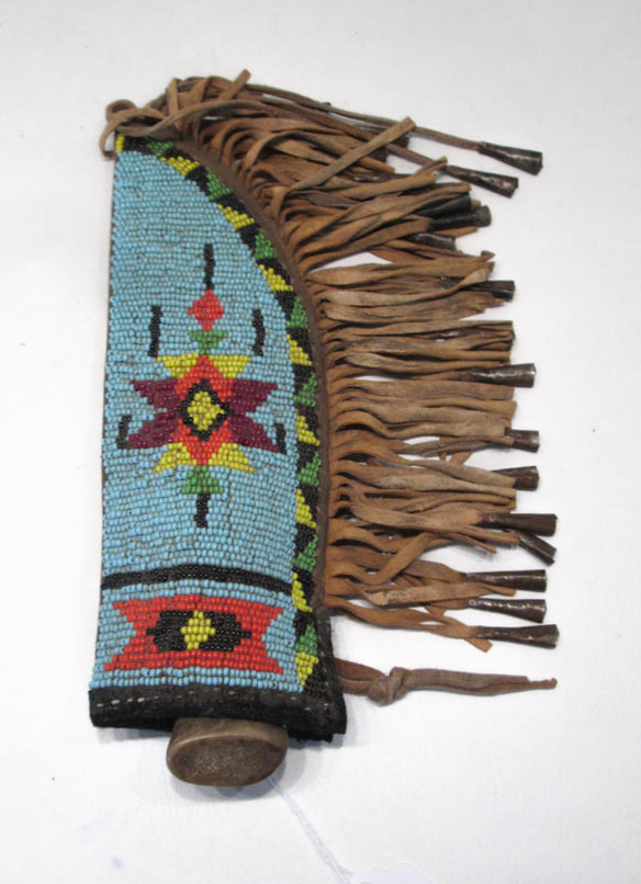 SOUTHWEST NATIVE AMERICAN KNIFE AND BEADED SHEATH