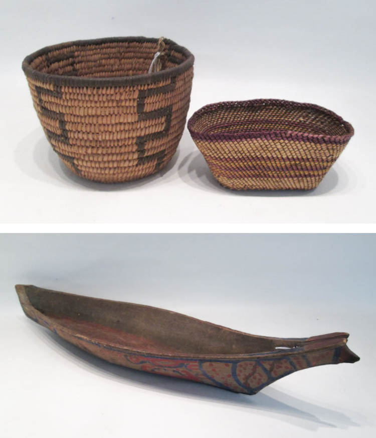 THREE NATIVE AMERICAN ITEMS: hand carved Puget So