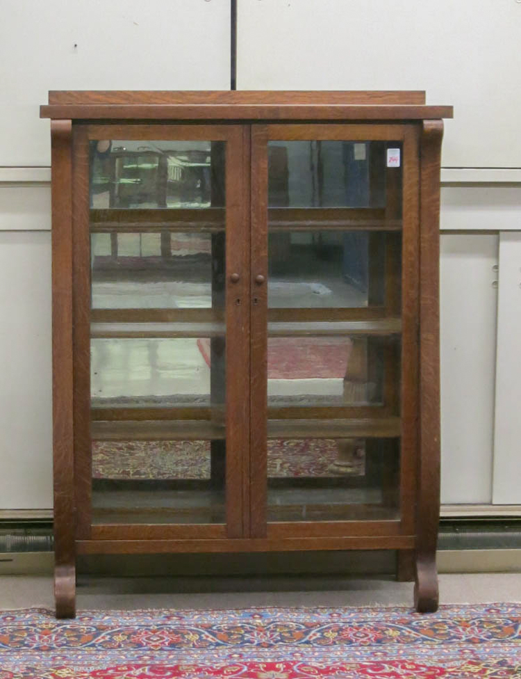 AN OAK CHINA DISPLAY CABINET, Empire Revival style