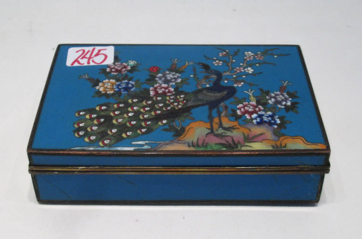 JAPANESE CLOISONNE CIGARETTE BOX, with hinged lid