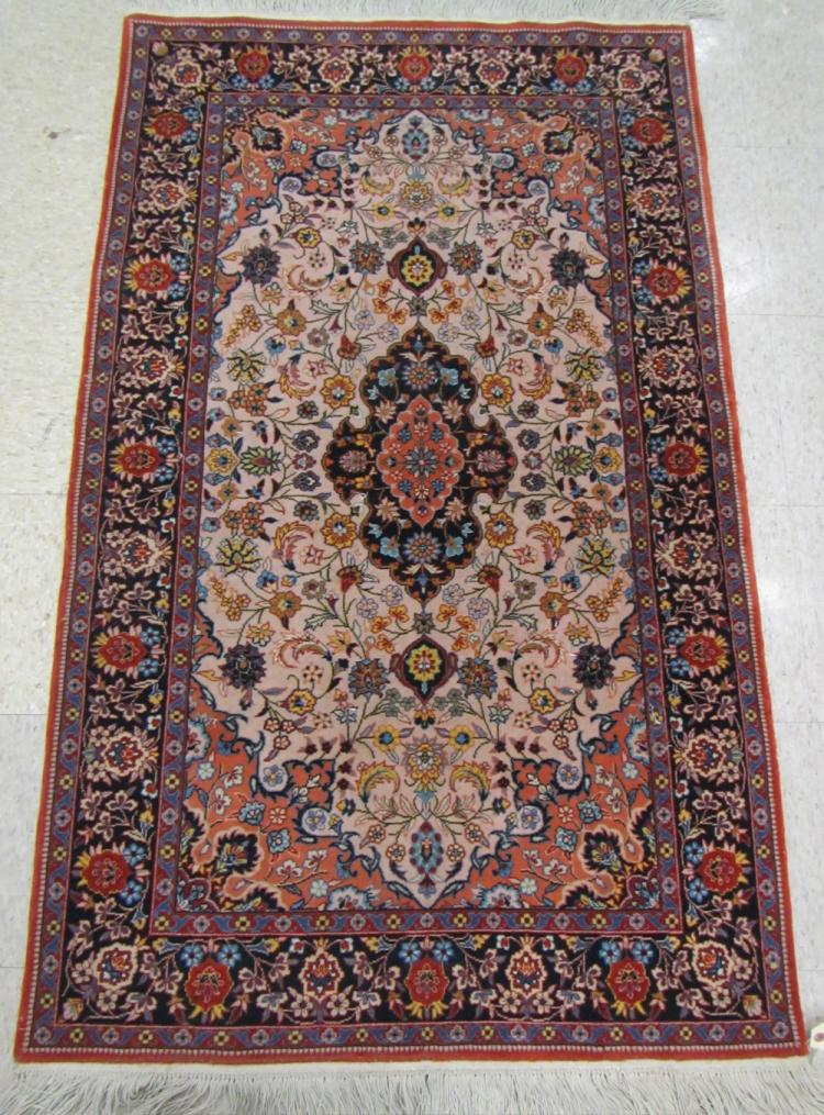 PERSIAN AREA RUG, floral and central floral medall