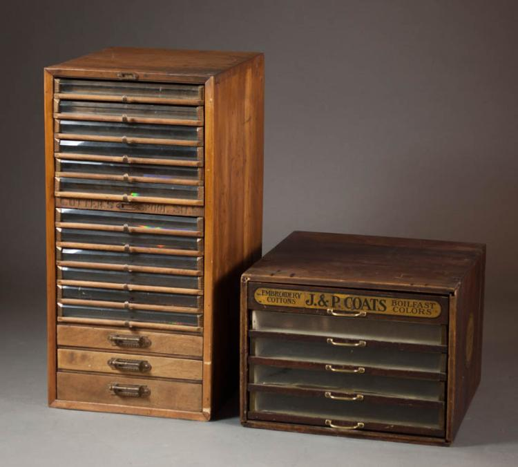 TWO LATE VICTORIAN SPOOL CHESTS:  1) walnut 15-dra