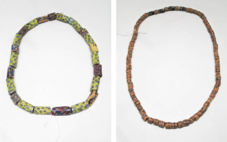 TWO STRANDS OF NATIVE AMERICAN TRADE BEADS Venetia