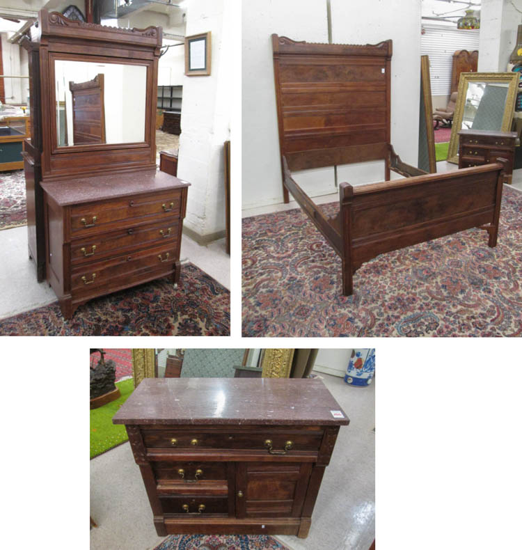 Three Piece Victorian Walnut Bedroom Furniture Set