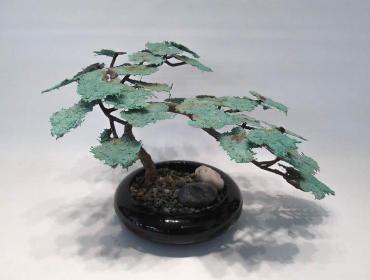 BRONZE BONSAI TREE SCULPTURE with green painted le