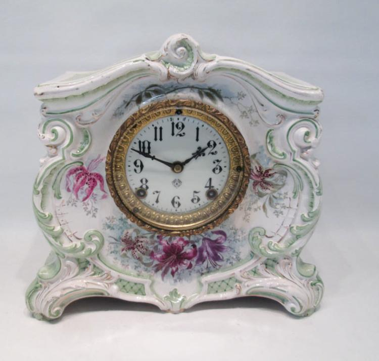 ANSONIA AND ROYAL BONN PORCELAIN MANTLE CLOCK. Th