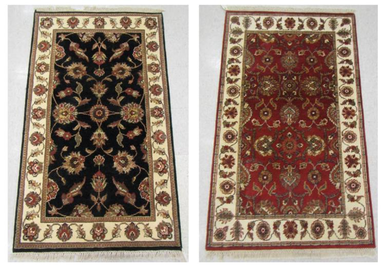 TWO HAND KNOTTED ORIENTAL AREA RUGS, Indo-Persian,