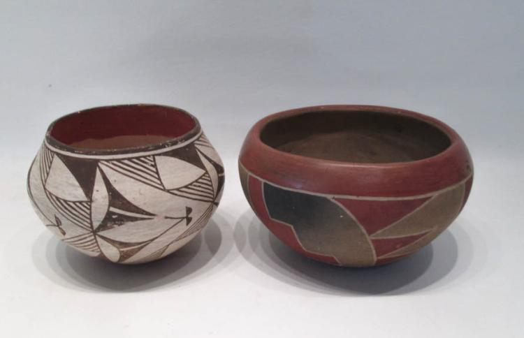 TWO SOUTHWEST NATIVE AMERICAN POTTERY ITEMS:  Hopi