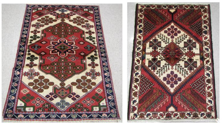 TWO HAND KNOTTED PERSIAN TRIBAL AREA RUGS, Hamadan